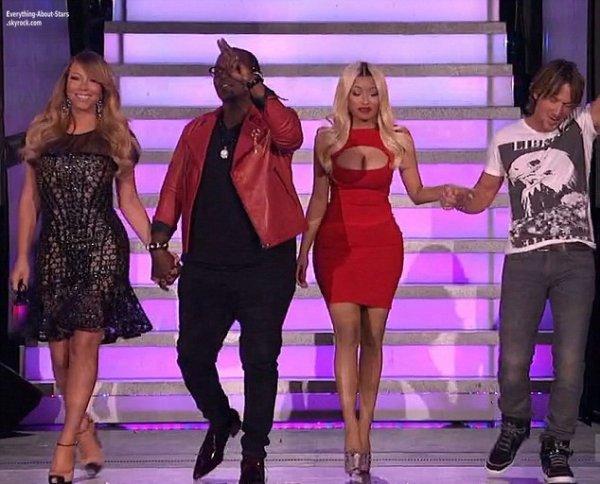 Nicki Minaj a fait une apparition dans l'émission American Idol au côté de Mariah Carey, Keith Urban et Randy Jackson      Le 19 Avril 2013