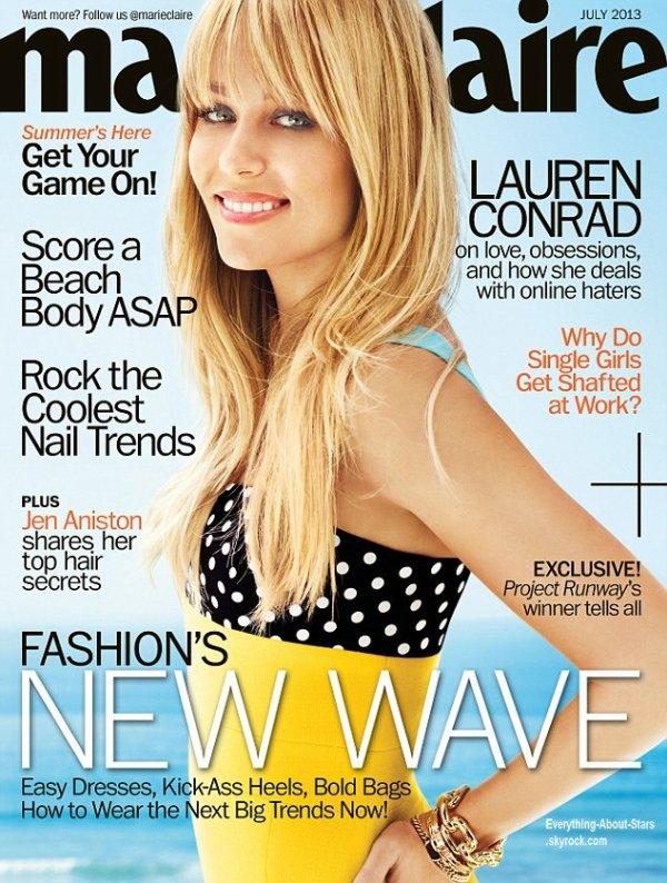 Lauren Conrad en couverture de Marie Claire
