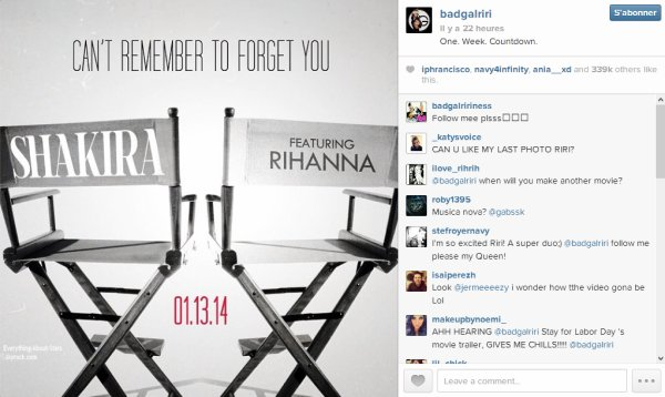 BREAKING NEWS  LE SINGLE DE SHAKIRA EN FEATURING AVEC RIHANNA « CAN'T REMEMBER TO FORGET YOU » SORTIRA LUNDI PROCHAIN
