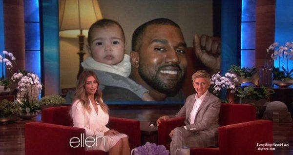 17/01/14: Kim Kardashian invitée sur le plateau du Ellen DeGeneres Show où elle a notamment dévoilé des photos de sa petite North