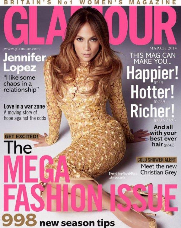Jennifer Lopez en couverture de GLAMOUR MAGAZINE
