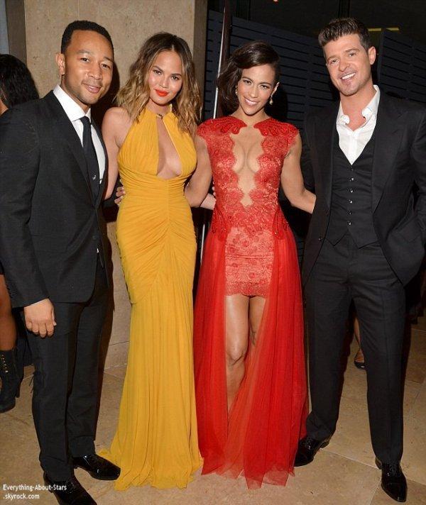 Pré Grammy Awards 2014:    Robin Thicke, Paula Patton, Chrissy Teigen et John Legend à la soirée Clive Davis des Pré Grammy à Los Angeles
