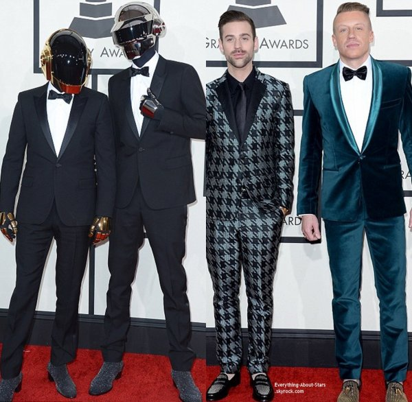 GRAMMY AWARDS 2014: Cérémonie, Red Carpet, Palmarés, Récompense et Vidéos  Robin Thicke, Paula Patton, Pharell Williams et sa femme Helen Lasichanh, Macklemore et sa fiancé Tricia Davis, Lewis et les Daft Punk sur le Red Carpet des Grammy Awards 2014