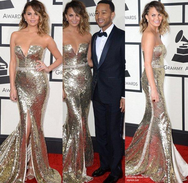 GRAMMY AWARDS 2014: Cérémonie, Red Carpet, Palmarés, Récompense et Vidéos  Paris Hilton, John Legend et Chissy Teigen sur le Red Carpet des Grammy Awards à Los Angeles