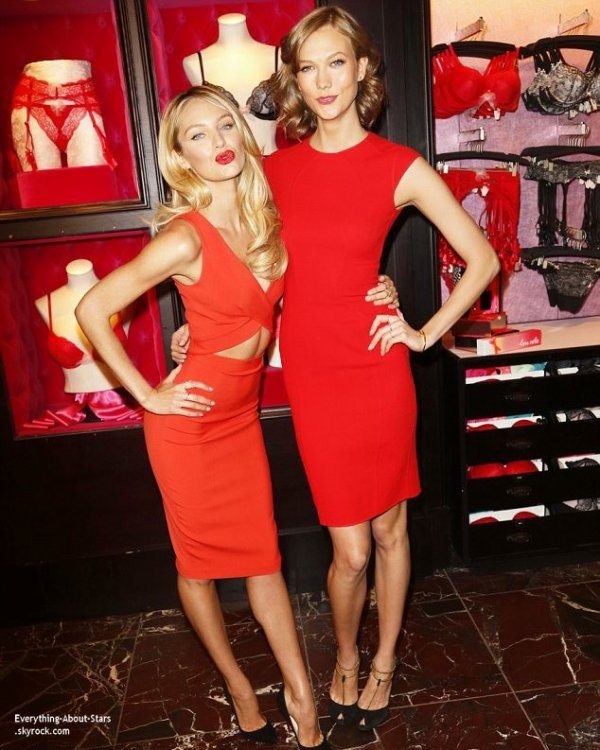 03/02/14: Candice Swanepoel et Karlie Kloss lors de la Bombshell Day dans une boutique Victoria's Secret à New York