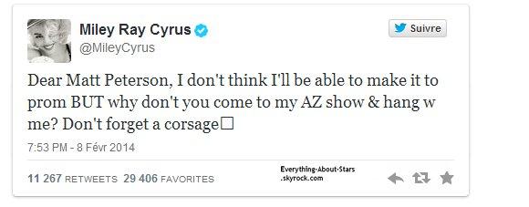 Miley Cyrus:     sa réponse à l'invitation de son fan audacieux...