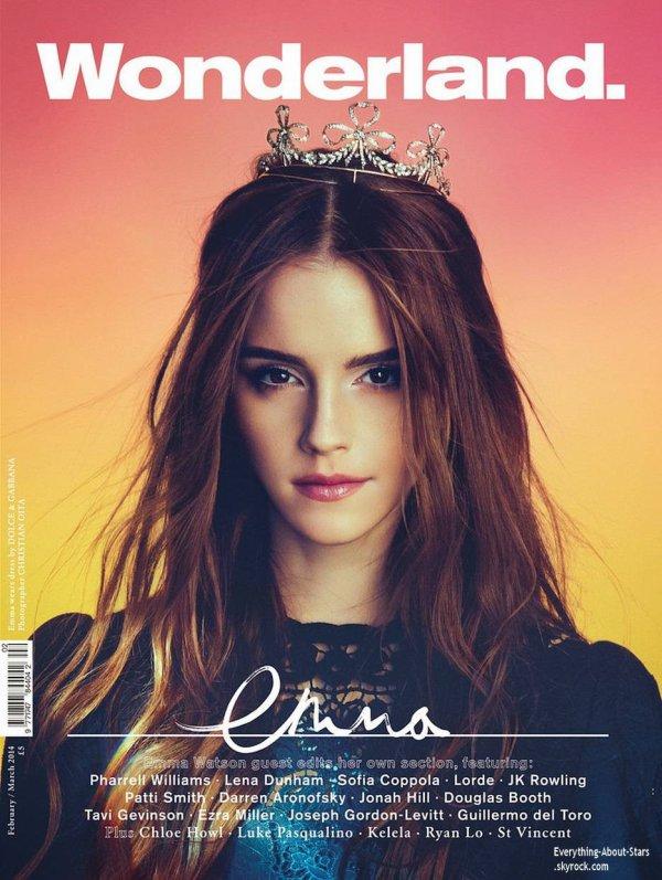 Emma Watson en couverture de WONDERLAND MAGAZINE