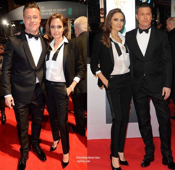 The British Academy Film Awards 2014   Le magnifique couple Pitt/Jolie sur le tapis rouge des British Academy Film Awards 2014 qui s'est déroulé au Royal Opera House à Londres.