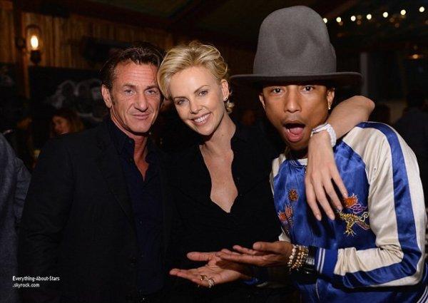 27/02/14: Charlize Theron et Sean Penn invités d'une fête donnée en l'honneur de Pharrell Williams et la nomination aux Oscars de sa chanson Happy à Beverly Hills
