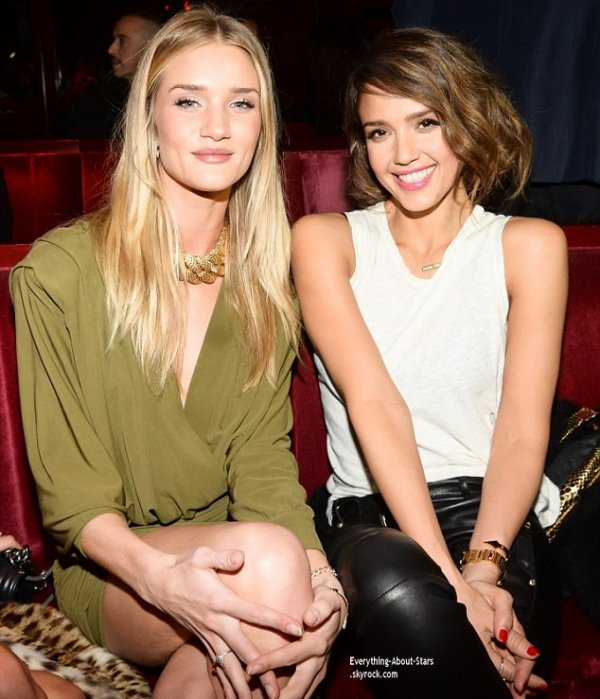 27/02/14: Rosie Huntington Whiteley et Jessica Alba aperçue à l'after show de la maison Balmain au Crazy Horse à Paris