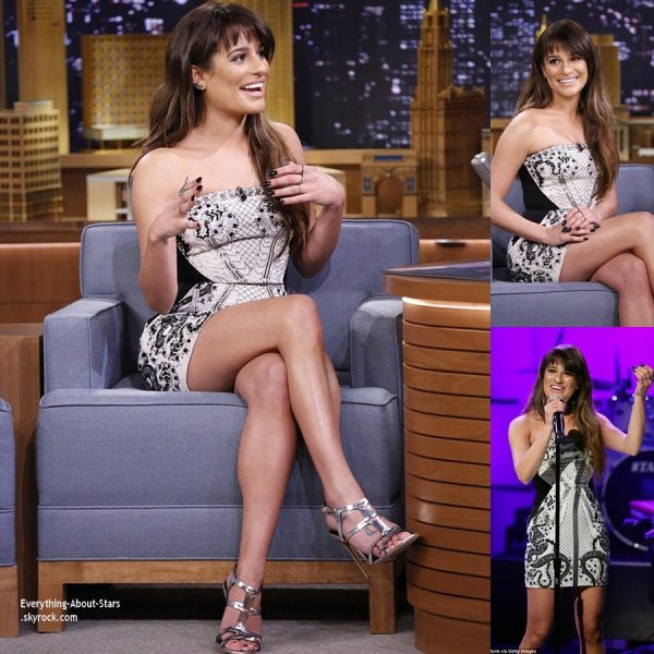 04/02/14: Lea Michele resplendissante, invité à l'émission  the Tonight Show Starring Jimmy Fallon à New York