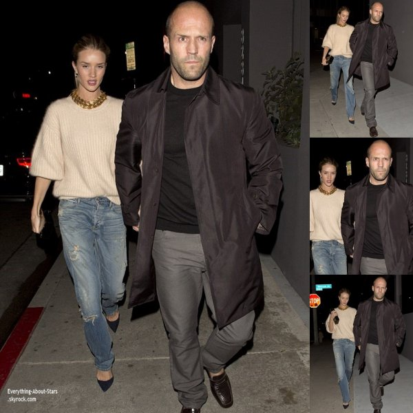 04/03/14: Sortie en amoureux pour Jason Statham et sa girlfriend Rosie Huntington-Whiteley, ils sont allés dîner au restaurant  Crossroads Kitchen  à Hollywood