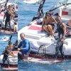 02/07/14: Nicole Scherzinger aperçue en train de s'amuser avec des amies dont son fiancé Lewis Hamilton sur la mer Méditerranée