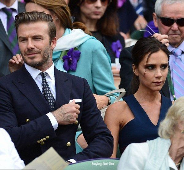 05/07/14: David et Victoria Beckham aperçue au tournoi de tennis de Wimbledon à Londres pour assister à une finale choc opposant le Serbe Novak Djokovic au Suisse Roger Federer
