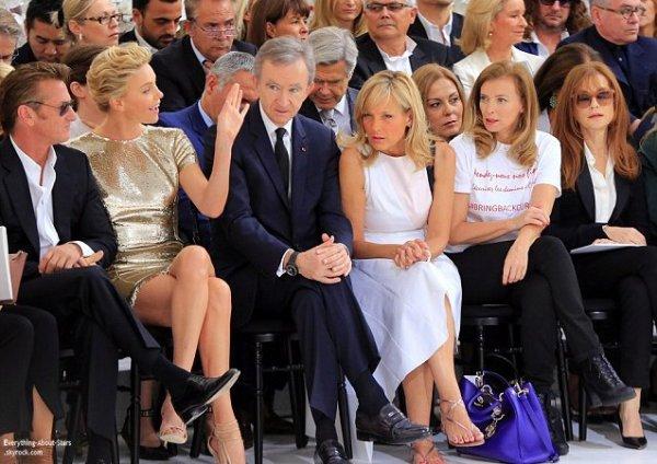 06/07/14: Marion Cotillard, Charlize Theron et Sean Penn aperçue au défilé de la maison Dior lors de la Fashion Week Haute Couture à Paris