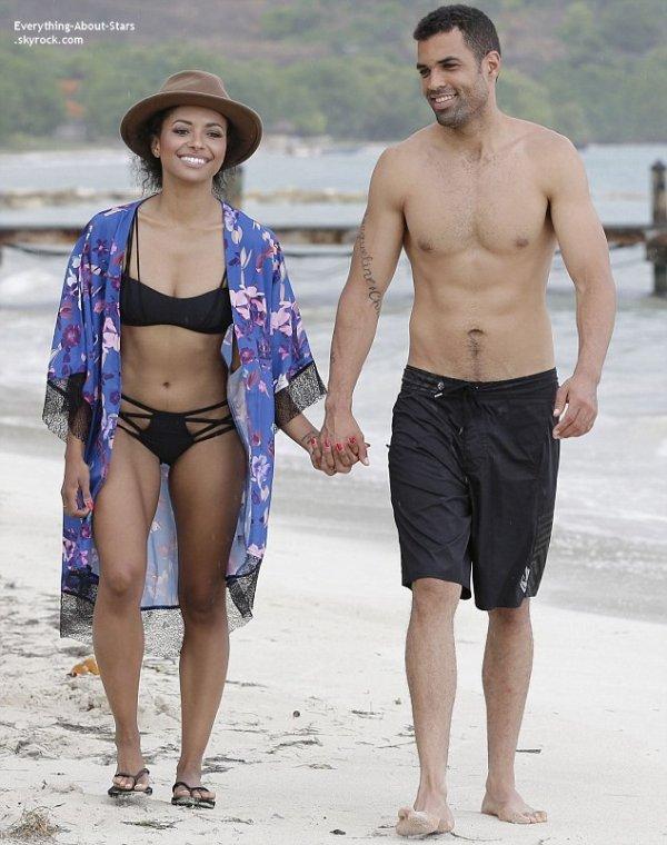 05/07/14: Kat Graham aperçue avec son fiancé Cottrell Guidry en vacances à la plage en Jamaïque
