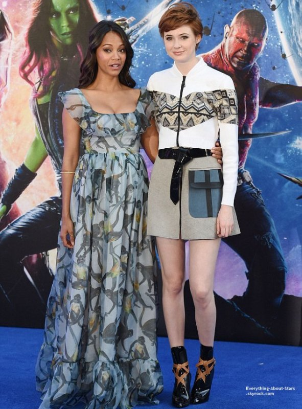 24/07/14: Zoe Saldana aperçue à l'avant première du film  Guardians of the galaxy à Londres