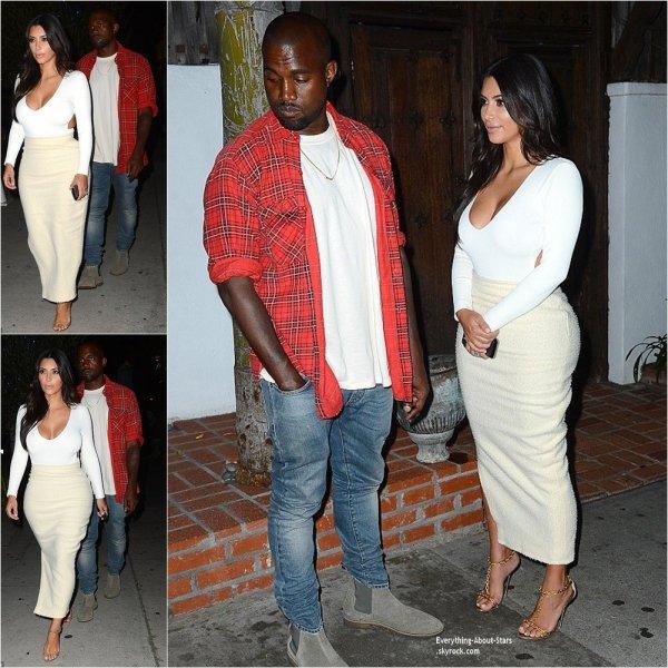 27/08/14: Kim Kardashian et Kayne West aperçue à la sortie d'un restaurant français à Los Angeles