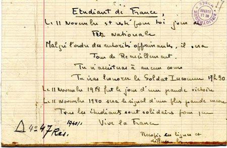 Le 11 novembre 1940 : un des actes fondateur de la Résistance française