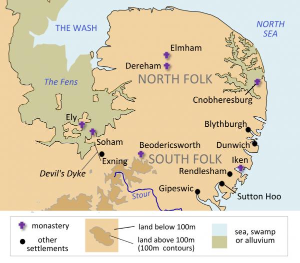 Le royaume d'East Anglie, une existence probable avec des fondateurs a l'existence problématique