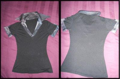 T-shirt noir col & bout de manche rayés