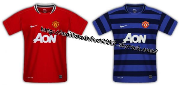 Maillots Manchester-United Domicile et Extérieur 2011-2012