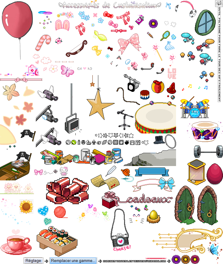 Gifs non animé : Kirby + Accessoires de customisation + Déco