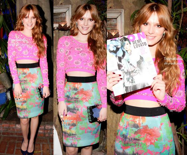 Bella à la fête organisée par Nylon Magazine et Nicole Miller le 15 janvier 2014.