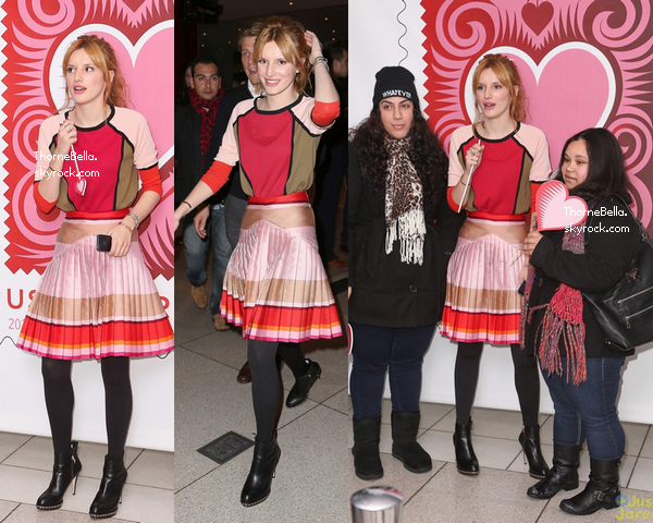Bella à l'US post office de NYC pour un meet&greet le 21 janvier 2014.