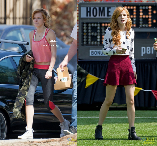 """Bella sur le tournage de """"Mostly Ghostly II"""" le 24 et 25 mars 2014."""