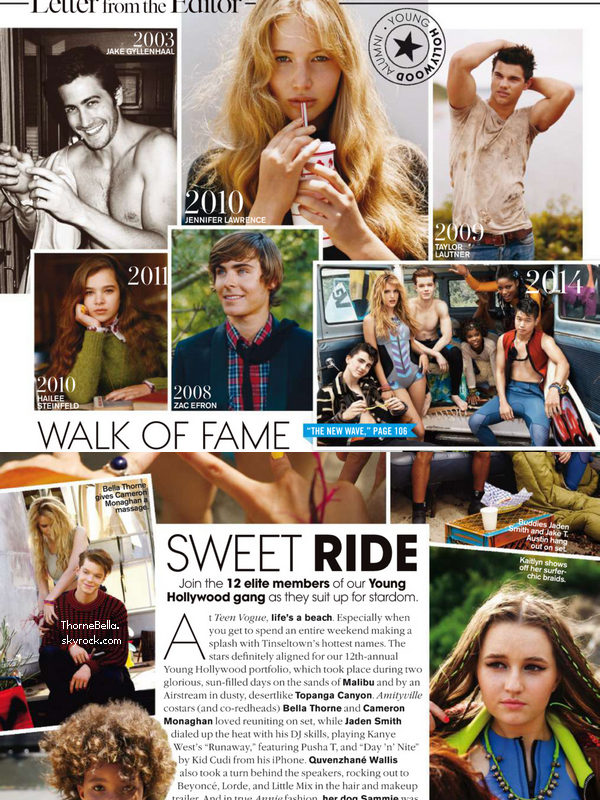 Scans du magazine Teen Vogue du mois d'octobre.