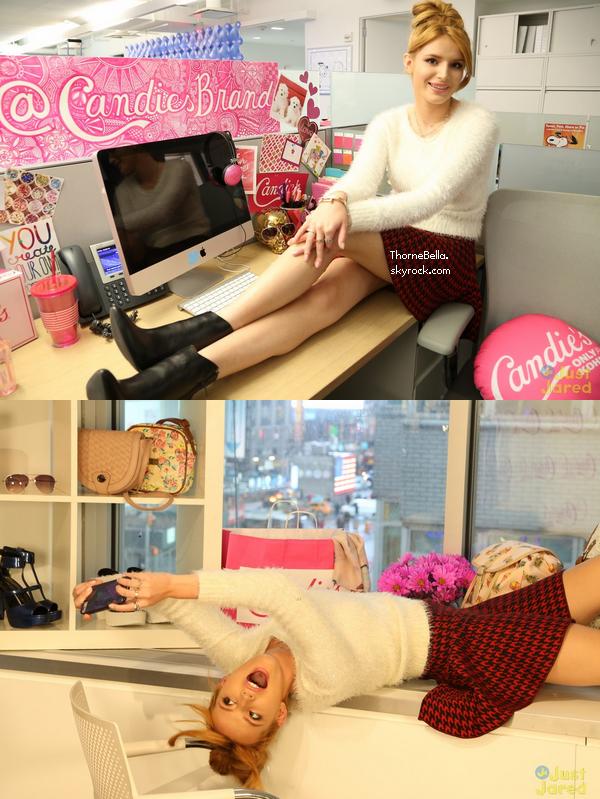Bella dans les bureaux de Candies le 2 décembre à NYC.