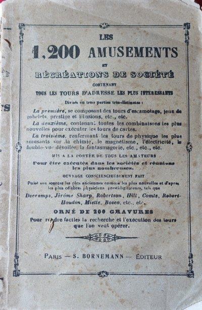 Les 1200 amusements et récréations de société - 1910 - Cat: livres anciens physique amusante - escamoteur