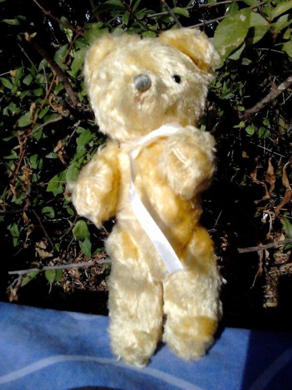 petit ours ancien articule 18cm rembourre paille