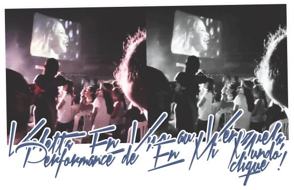 """. Voici une vidéo de la performance de """"En Mi Mundo"""" de Martina durant le show au Venezuela. Clique sur l'image pour voir la vidéo ! ."""