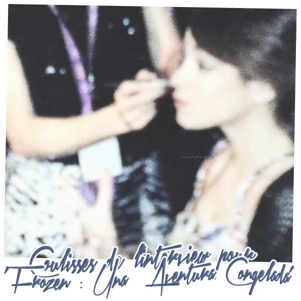 """. Voici une photo de Martina dans les coulisses de son interview pour """"Frozen : Una Aventura Congelada"""". ."""