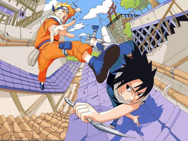 naruto et sasuke qui jouent