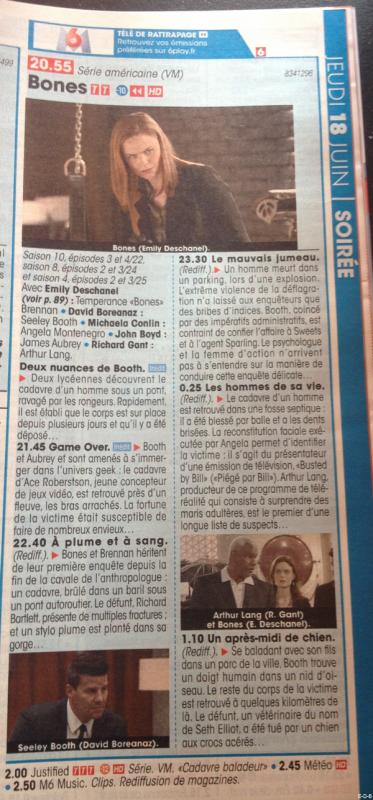 Emily & Bones dans le Télé Star du 13 au 19 Juin 2015 ♥