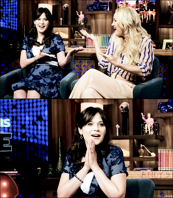 Events: Zooey avec Kate Hudson en interview au Watch What Happens Live le 20/10/15 ♥