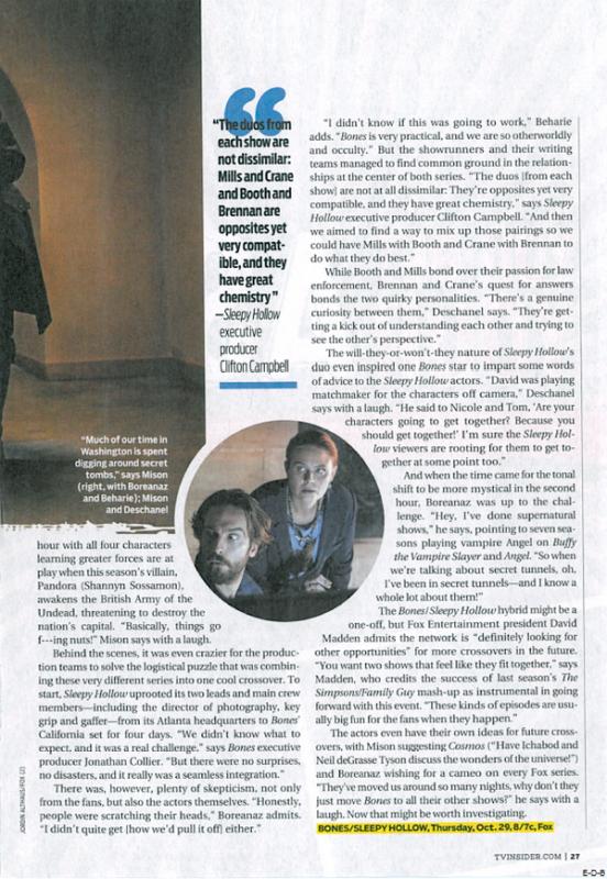Magazine: Bones et Sleepy Hollow dans le magazine américain TV Guide Octobre 2015 ♥