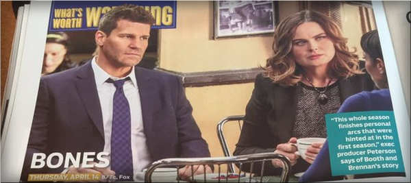 Magazine: Bones dans le TV Guide Américain Avril 2016 /!\ SPOILERS SAISON 11 /!\ ♥