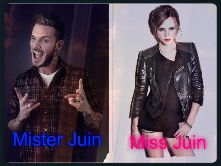 Mister et Miss Juin 2017 Matt Pokora et Emma Watson