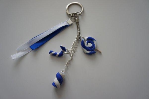 porte clé sucrerie blanc/bleu