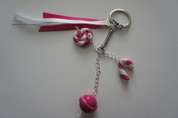 porte clé sucrerie blanc/rose
