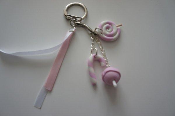 porte clé sucrerie blanc/rose pastel