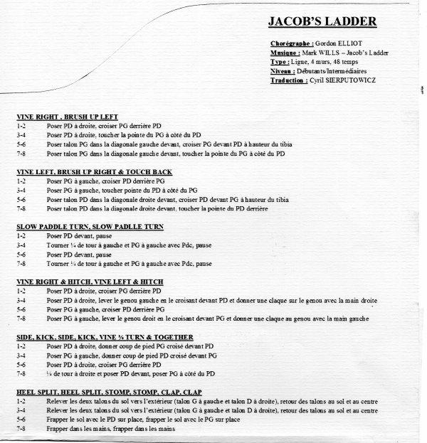 JACOB'S LADDER (ou blue rodeo = 2 chorégraphies pour une même musique)