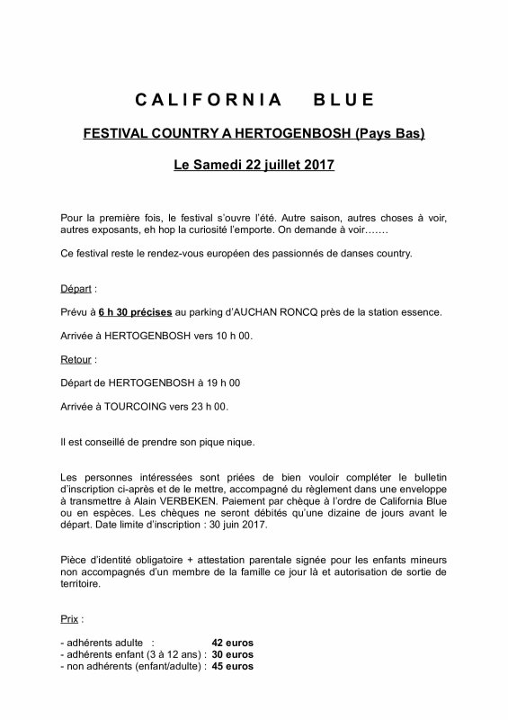 Affiche FESTIVAL COUNTRY PAYS-BAS - juillet 2017
