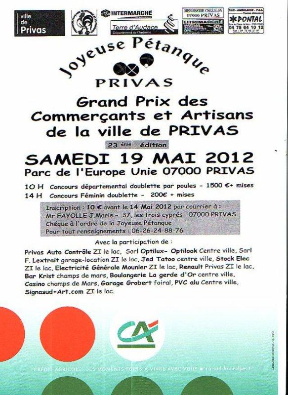Grand Prix des Commerçants et Artisans de la ville de Privas Samedi 19 Mai 2012