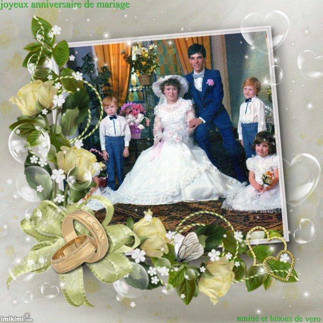 joyeux anniversaire de mariage a patrick et mathilda et beaucoup de bonheur , bisous