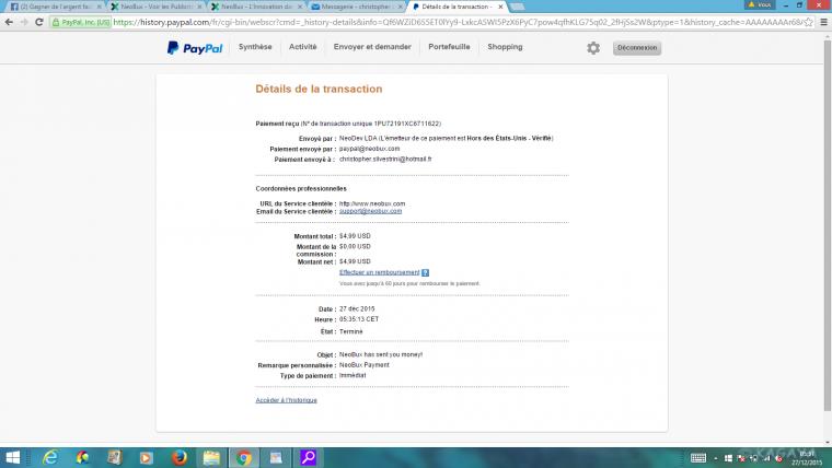 Neobux 4 clics et 1000 euros paypal par mois !!!